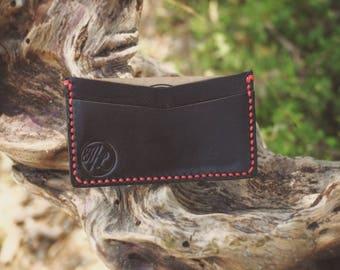 Ultra Slim Card Wallet- Black & Blood Red stitching
