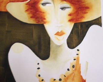 "Original Mid Century Modern Abstract Watercolor Gossip ""Oh, Really"" Red Head, Hat Sign in Script Center Portland OR Artist Suzie Spaggiari ~"