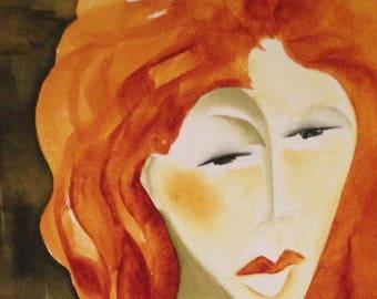 "Original Mid Century Modern Abstract Watercolor ""Lady in Red"" Signed in Black Script L/L by Portland, Oregon Artist Suzie Spaggiari"