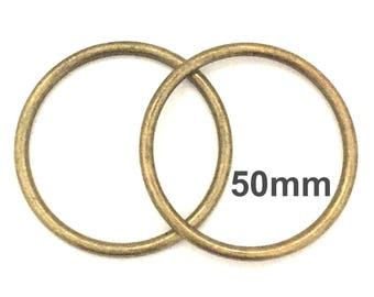 Extra Large ANTIQUE BRASS o-rings 50mm ID / Extra Large o Rings / Jumbo Antique Brass O Ring / Strap Hardware / O rings / Set of Two O Rings