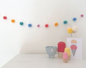 Mini pom pom garland - 10 mini wool pom pom bunting - made to order home decor