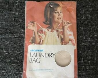 70s Drawstring Laundry Bag, Plain Cotton Bag in Orignal Package