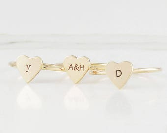 Dainty Gold Fill Heart Initial Ring, Personalized Ring, Stacking Ring, Customized Initial Ring, 14 k Gold Filled Ring ( HCR OD HT )