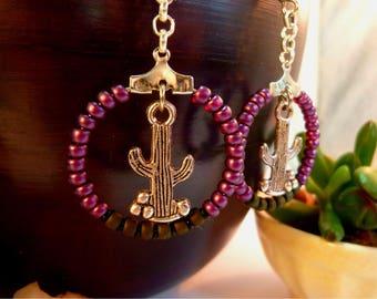 Small hoop earrings Cactus