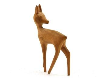 Vintage Wooden Handmade Miniature Figure of a Animal Deer 1970s