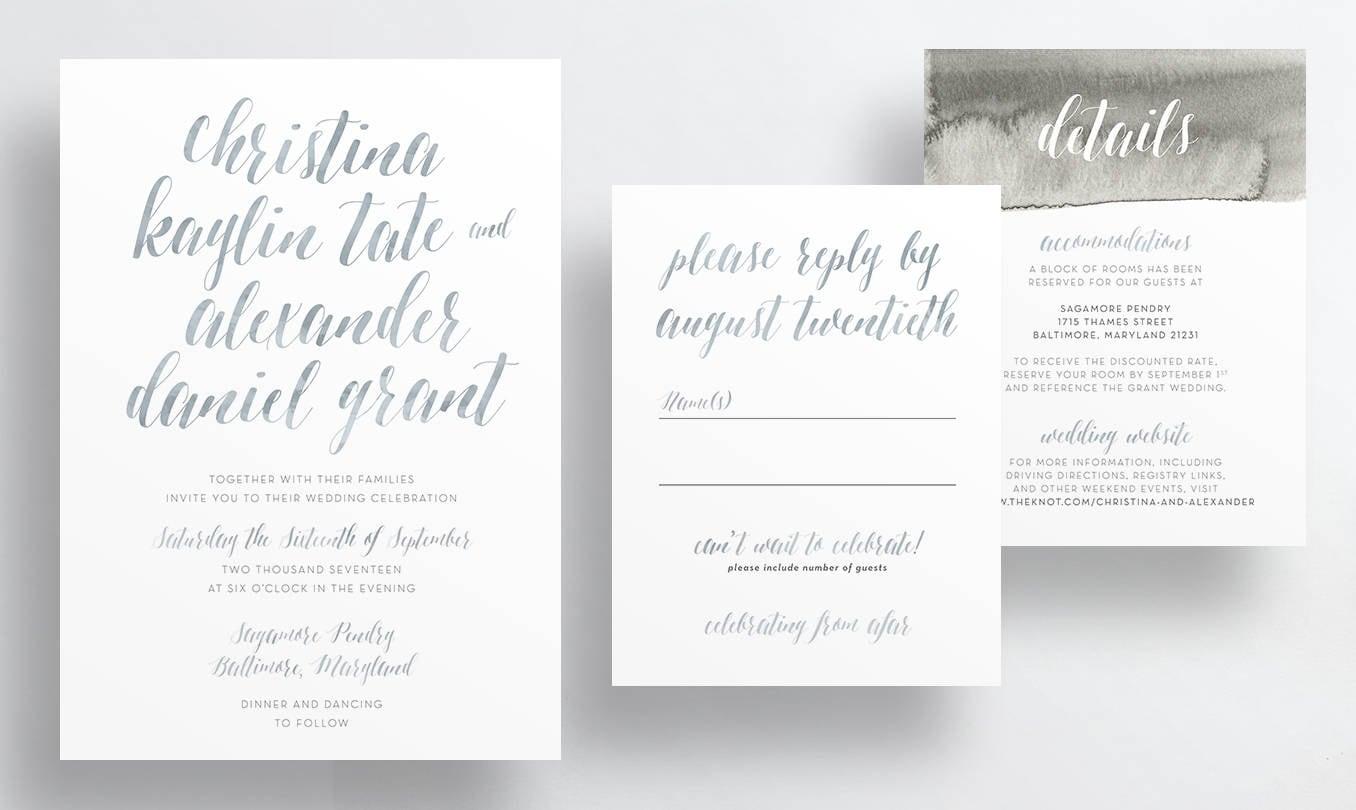watercolor script wedding invitations // gray taupe watercolor
