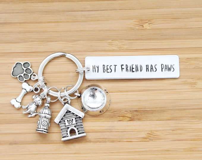 Featured listing image: hand stamped keychain | my best friend has paws - dog edition