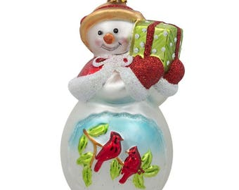 "5"" Snowman with Red Cardinals Holding a Gift Glass Christmas Ornament"