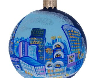 "3.25"" London City, Great Britain Glass Ball Christmas Ornament"