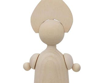 """4.5"""" Blank Unfinished Russian Girl Wooden Doll"""