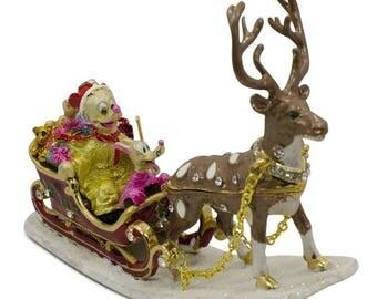 "4"" x 5"" Donald & Reindeer on Christmas Sleigh Trinket Box"