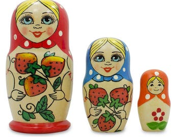 "4"" Set of 3 Red Strawberry Scarf Wooden Matryoshka Russian Nesting Dolls"