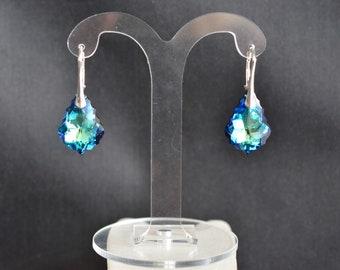 925 silver earrings drops baroque Swarovski crystal bermuda blue