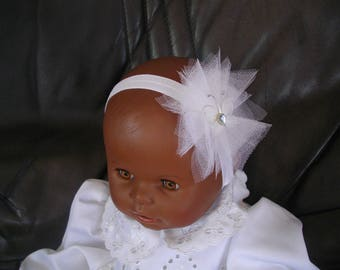 """Baby girl baptism """"White Tulle and White Butterfly"""" headband"""