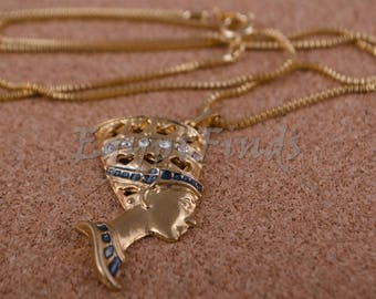 Egyptian gold plated enamelled nefertiti necklace With crystals