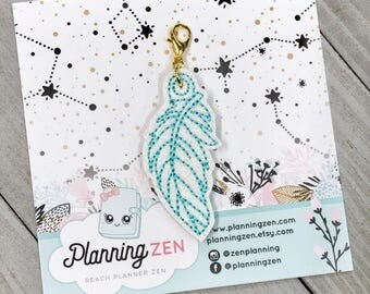Sparkly Teal Feather Planner Charm