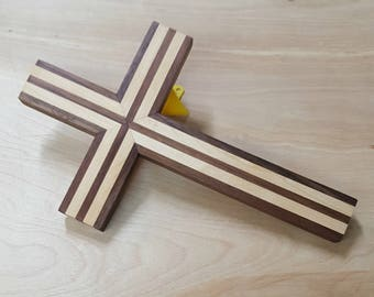 IN STOCK, ready to SHIP! Wood wall cross made of maple and walnut. handmade wooden cross, wood cross
