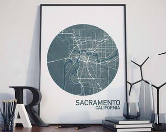 Sacramento, California City Map Print