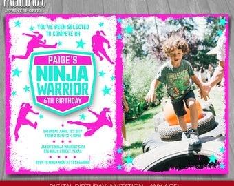 American Ninja Warrior Invitation - Ninja Warrior Invite - Girl Pink American Ninja Birthday Printed Invitation with photo Party (NWIN06)