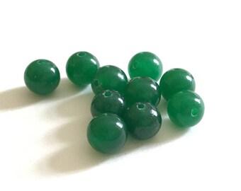 set of 10 Jade stones 8mm Green
