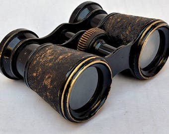 Antique 1890's 1900's Leather Brass French Binoculars Opera Theater Glasses Paris Made in France Vintage Steampunk Center Focus