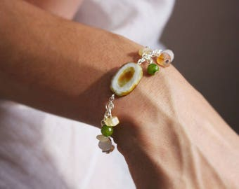 Bracelet charms Bohemian style - natural materials