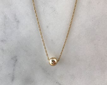 RESERVED: Gold Ball Pendant | 14k pendant and chain