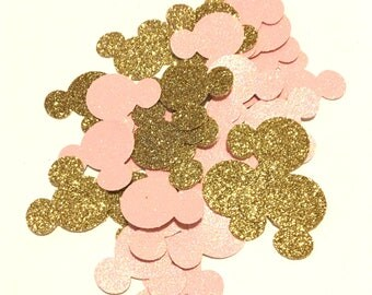 Glittery Pink and Gold Minnie Mouse Confetti - 100 pcs - Minnie Mouse Birthday - Minnie Mouse Party Decorations - Minnie Mouse Baby Shower