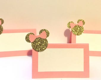 10 Minnie Mouse Place Cards - Minnie Mouse Party Decorations - Minnie Mouse Birthday Party - Minnie Mouse Food Tents - Minnie Mouse Birthday