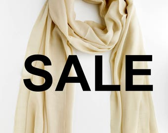 SALE White Cashmere Scarf - Oversize - Free Shipping