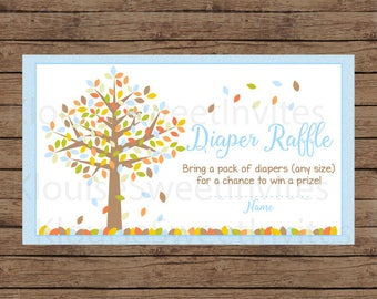 Printable Autumn Fall Tree in Blue, Brown, Orange and Green Baby Shower Diaper Raffle, JPEG 300DPI, 3.5x2 inches