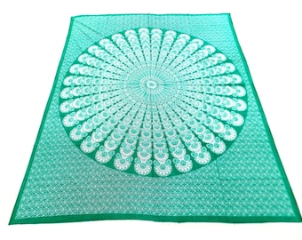 Hand Block Printed Mandala Design Cotton Double Bed Sheet in Green Color Size 90x108 Inch