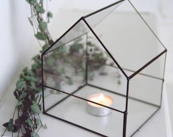 NEW - Petit terrarium maison - Verre - Géométrique - Jardin d'intérieur - Photophore - Vitrail - Cadeau - Décoration bureau - Cuivre