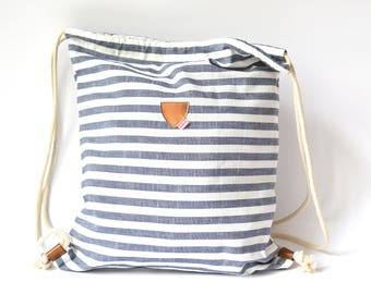Gym Bag, Striped, Blue White