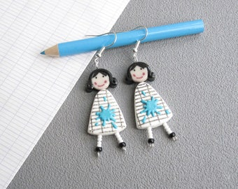 Teacher jewelry, earrings for teachers, 2 dolls in white dress and spot of blue paint, fun earrings polymer clay fimo, teacher gift idea