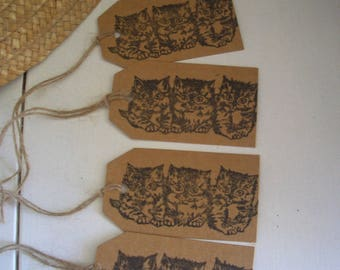 4 kraft tags for scrapbooking 3 gift tags 4x7cm black kittens cats