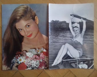 Lot of 4 Pin-Up Postcards - Vintage postcards-beautiful girls-60's/ Used postcards