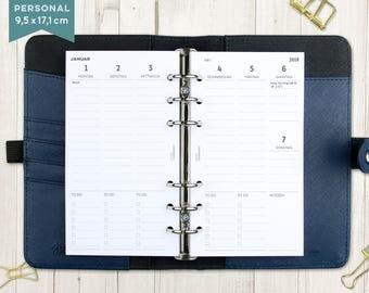 """2018 calendar """"columns lined"""" - staff"""