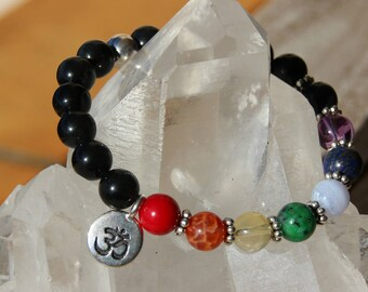 Bracelet Obsidian + colors of the 7 chakras
