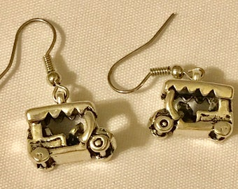 3D Golf Cart dangle Earrings