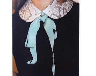 Python grosgrain bow with Peter Pan collar