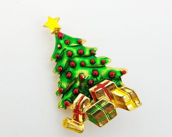 Vintage Gold Tone Christmas Tree Pin With Packages & Red Ornaments