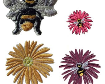 Flower & Bee Fabric Iron on Colourful Daisy Embroidery Applique Motif