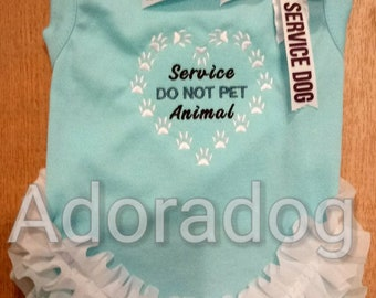 Service Animal Do not pet dress with ruffle & bow