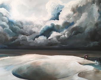 On the Front Line, Original Storm Cloud Seascape Oil Painting on Canvas