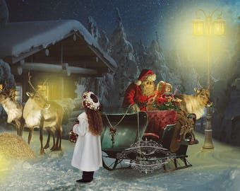 """Christmas Digital Photography Backdrop """"Setting Off From The North Pole"""""""