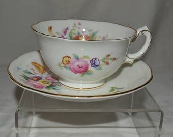 Swansea by George Jones and Sons Crescent Bone China Teacup and Saucer Junetime Pattern Vintage #4185
