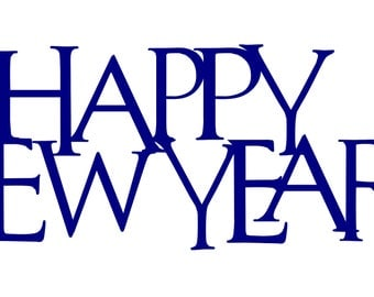 """Happy New Year Mantle Piece - 24"""" wide by 9"""" tall - Metal Sign"""
