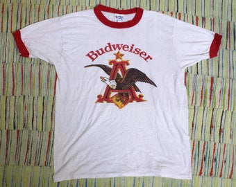 Vintage 80s Budweiser Ringer Tee Shirt, Size Large
