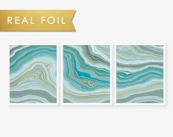 Set of 3 Panels Teal Agate Waves - Art Print with Gold Foil
